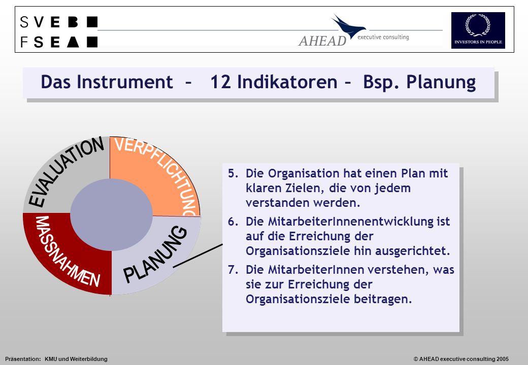 Präsentation: KMU und Weiterbildung© AHEAD executive consulting 2005 Das Instrument – 12 Indikatoren – Bsp.