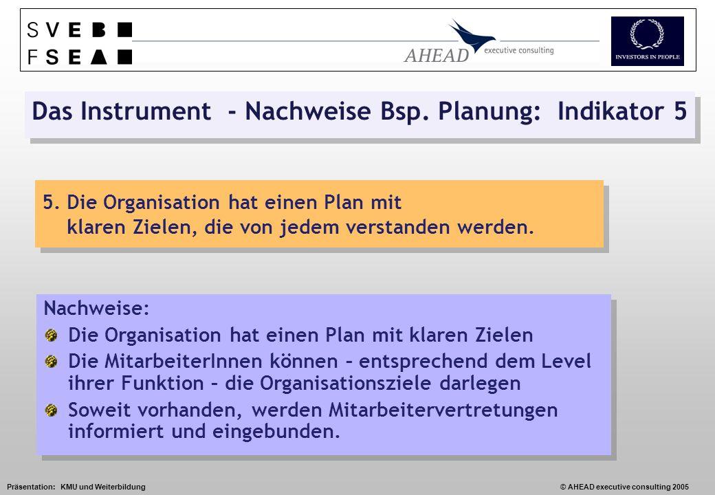 Präsentation: KMU und Weiterbildung© AHEAD executive consulting 2005 Das Instrument - Nachweise Bsp.