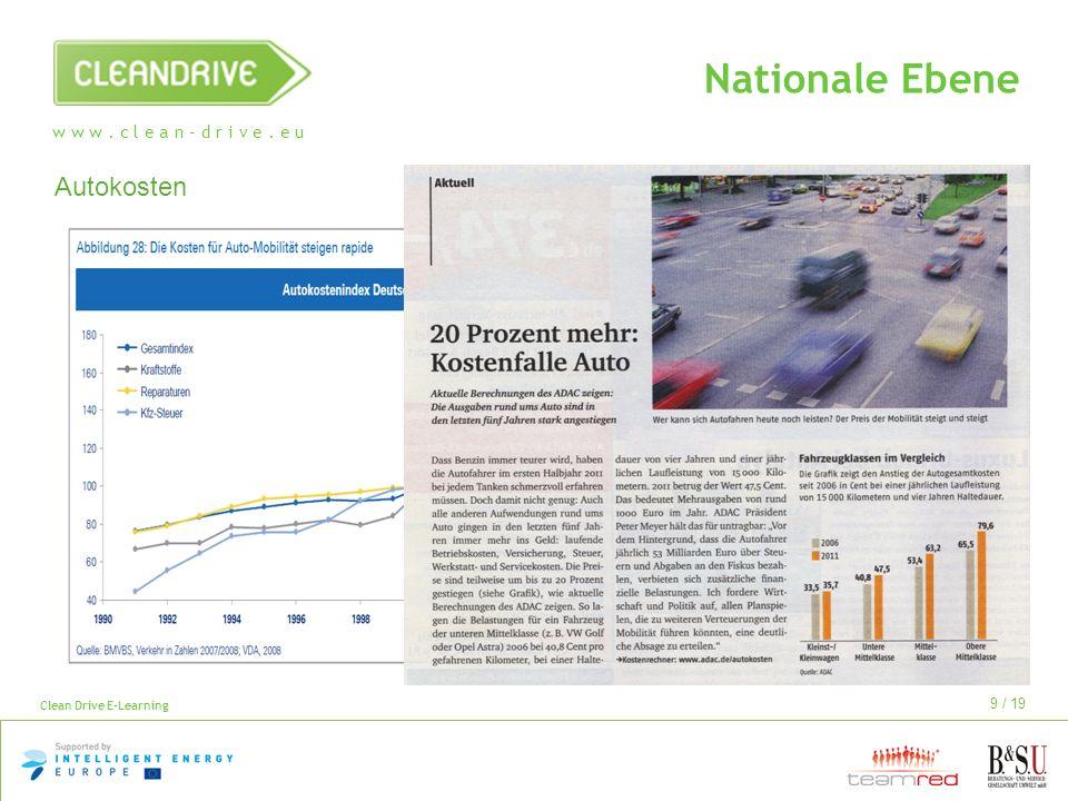 w w w. c l e a n – d r i v e. e u Clean Drive E-Learning 9 / 19 Nationale Ebene Autokosten