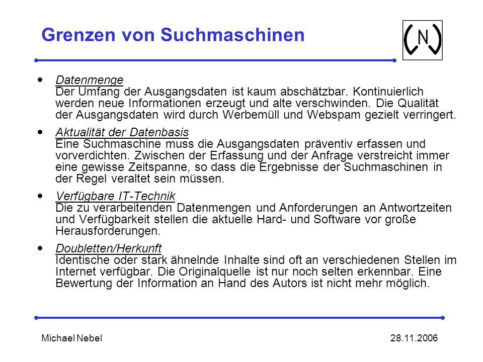 28.11.2006Michael Nebel Grenzen von Suchmaschinen Datenmenge Der Umfang der Ausgangsdaten ist kaum abschätzbar.