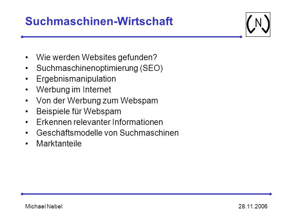 28.11.2006Michael Nebel Suchmaschinen-Wirtschaft Wie werden Websites gefunden.