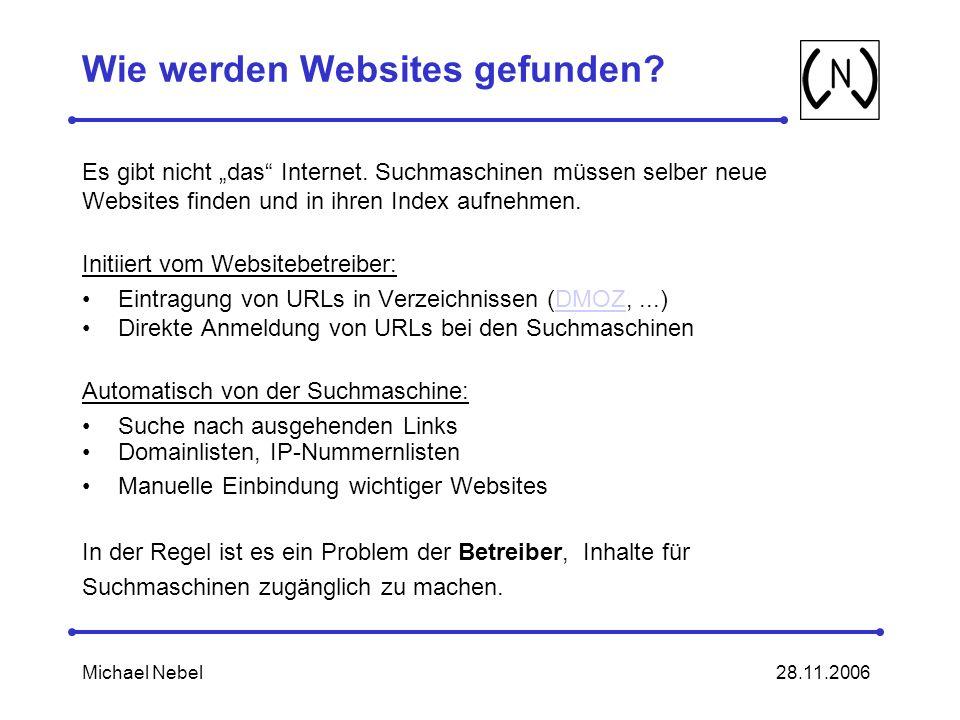 28.11.2006Michael Nebel Wie werden Websites gefunden.