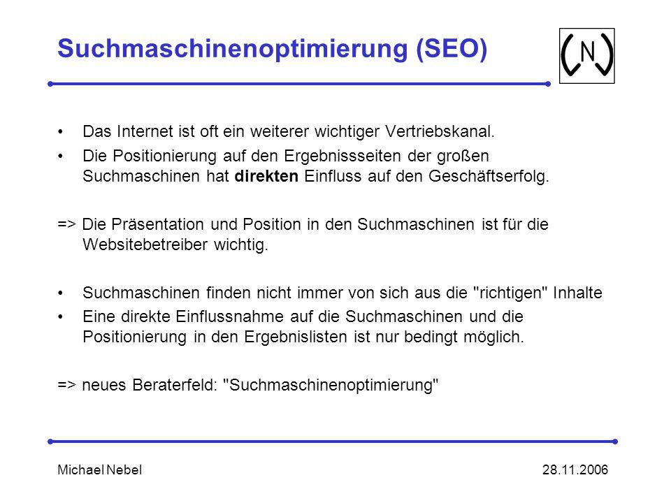 28.11.2006Michael Nebel Suchmaschinenoptimierung (SEO) Das Internet ist oft ein weiterer wichtiger Vertriebskanal.