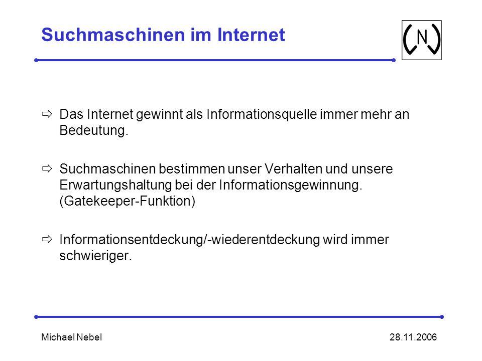 28.11.2006Michael Nebel Suchmaschinen im Internet Das Internet gewinnt als Informationsquelle immer mehr an Bedeutung.