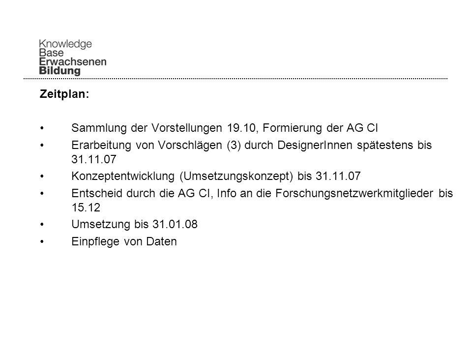 Zeitplan: Sammlung der Vorstellungen 19.10, Formierung der AG CI Erarbeitung von Vorschlägen (3) durch DesignerInnen spätestens bis 31.11.07 Konzeptentwicklung (Umsetzungskonzept) bis 31.11.07 Entscheid durch die AG CI, Info an die Forschungsnetzwerkmitglieder bis 15.12 Umsetzung bis 31.01.08 Einpflege von Daten