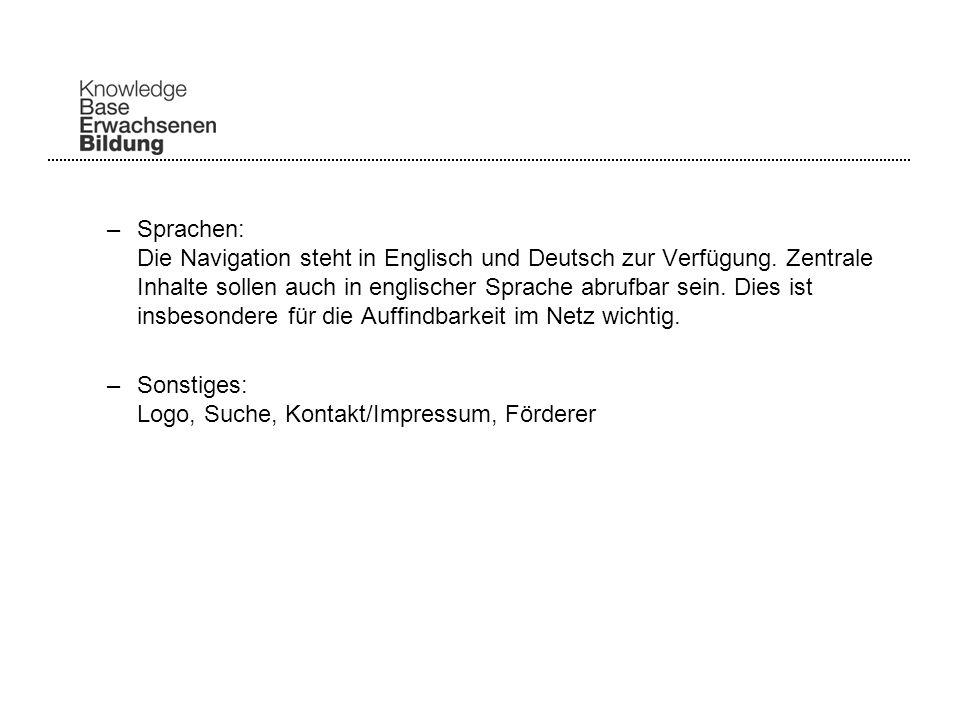 –Sprachen: Die Navigation steht in Englisch und Deutsch zur Verfügung.