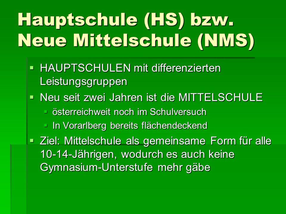 Hauptschule (HS) bzw.