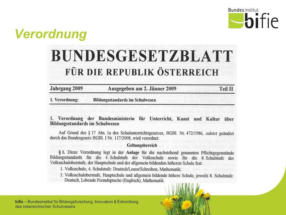 bifie – Bundesinstitut für Bildungsforschung, Innovation & Entwicklung des österreichischen Schulwesens Verordnung
