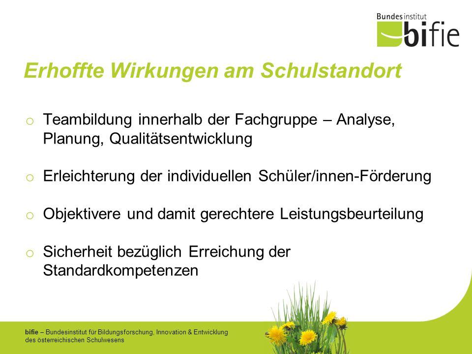 bifie – Bundesinstitut für Bildungsforschung, Innovation & Entwicklung des österreichischen Schulwesens Erhoffte Wirkungen am Schulstandort o Teambild