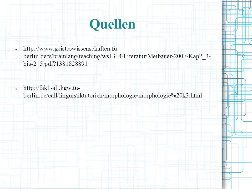 Quellen http://www.geisteswissenschaften.fu- berlin.de/v/brainlang/teaching/ws1314/Literatur/Meibauer-2007-Kap2_3- bis-2_5.pdf?1381828891 http://fak1-alt.kgw.tu- berlin.de/call/linguistiktutorien/morphologie/morphologie%20k3.html