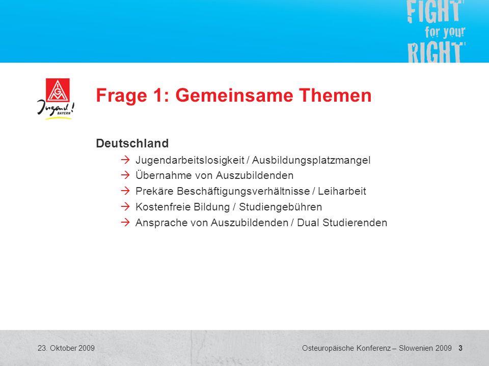 3 Osteuropäische Konferenz – Slowenien 2009 23. Oktober 2009 Frage 1: Gemeinsame Themen Deutschland Jugendarbeitslosigkeit / Ausbildungsplatzmangel Üb
