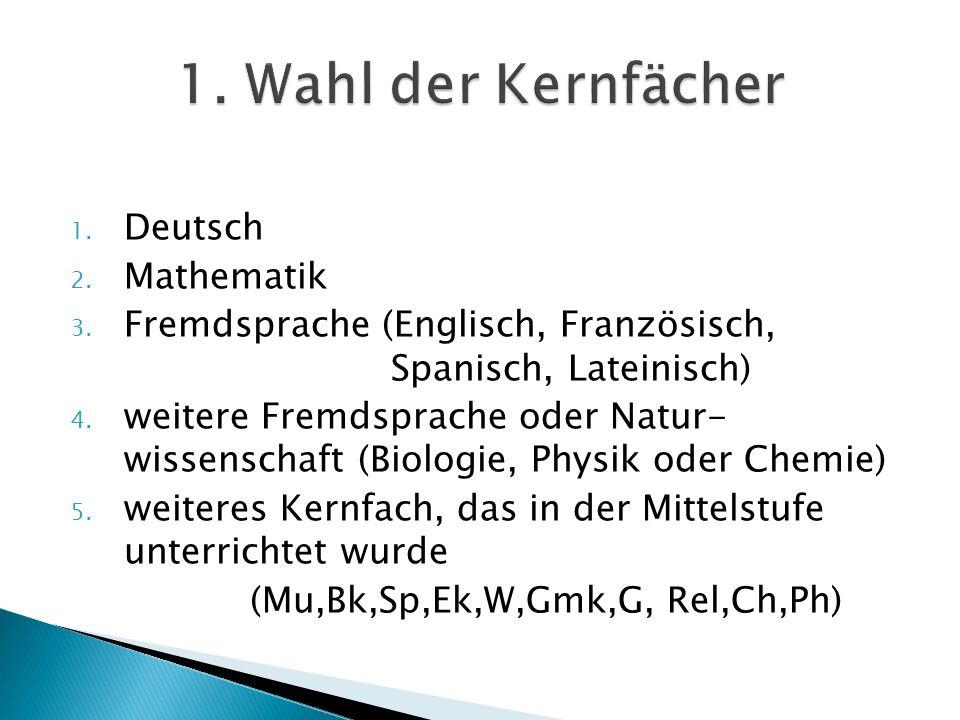 1. Deutsch 2. Mathematik 3. Fremdsprache (Englisch, Französisch, Spanisch, Lateinisch) 4. weitere Fremdsprache oder Natur- wissenschaft (Biologie, Phy