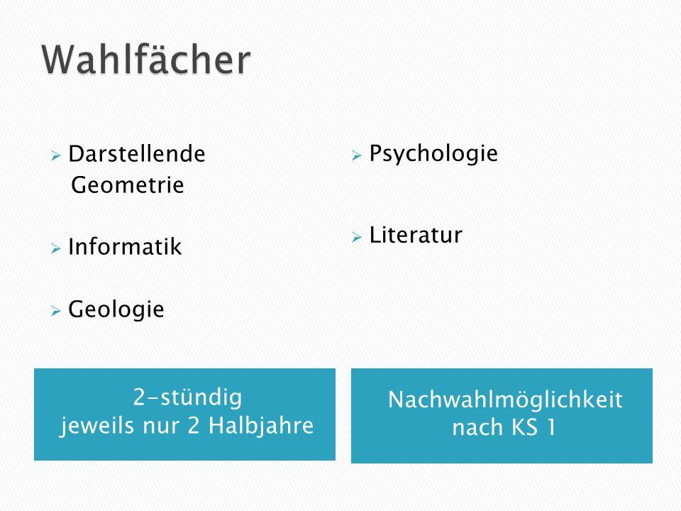 2-stündig jeweils nur 2 Halbjahre Nachwahlmöglichkeit nach KS 1 Darstellende Geometrie Informatik Geologie Psychologie Literatur