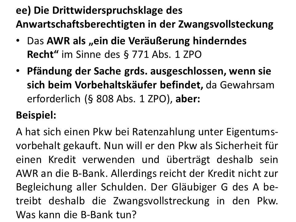 ee) Die Drittwiderspruchsklage des Anwartschaftsberechtigten in der Zwangsvollsteckung Das AWR als ein die Veräußerung hinderndes Recht im Sinne des §