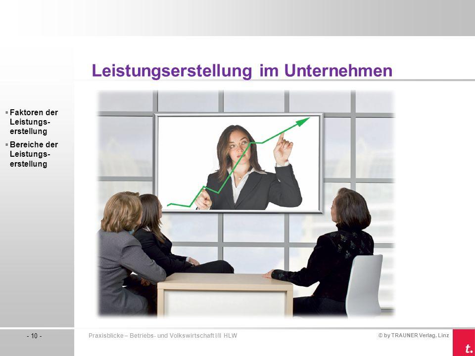 © by TRAUNER Verlag, Linz - 10 - Praxisblicke – Betriebs- und Volkswirtschaft I/II HLW Faktoren der Leistungs- erstellung Bereiche der Leistungs- erst