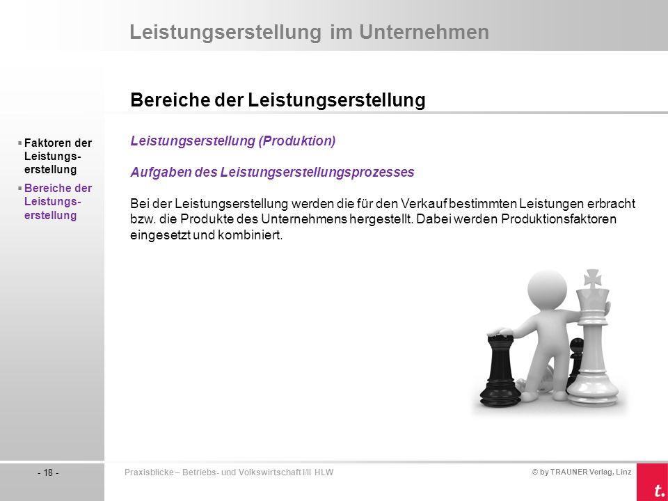 © by TRAUNER Verlag, Linz - 18 - Praxisblicke – Betriebs- und Volkswirtschaft I/II HLW Leistungserstellung im Unternehmen Bereiche der Leistungserstel