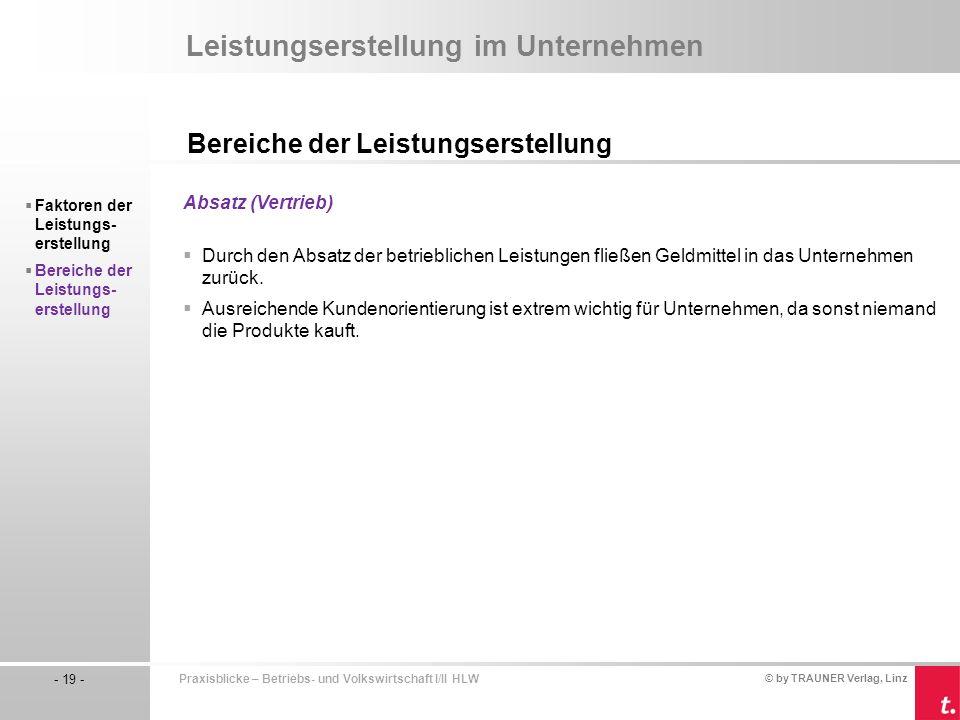 © by TRAUNER Verlag, Linz - 19 - Praxisblicke – Betriebs- und Volkswirtschaft I/II HLW Leistungserstellung im Unternehmen Bereiche der Leistungserstel