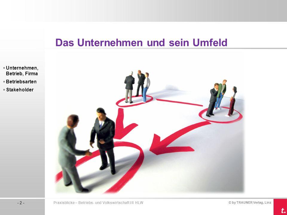 © by TRAUNER Verlag, Linz - 2 - Praxisblicke – Betriebs- und Volkswirtschaft I/II HLW Unternehmen, Betrieb, Firma Betriebsarten Stakeholder Das Untern