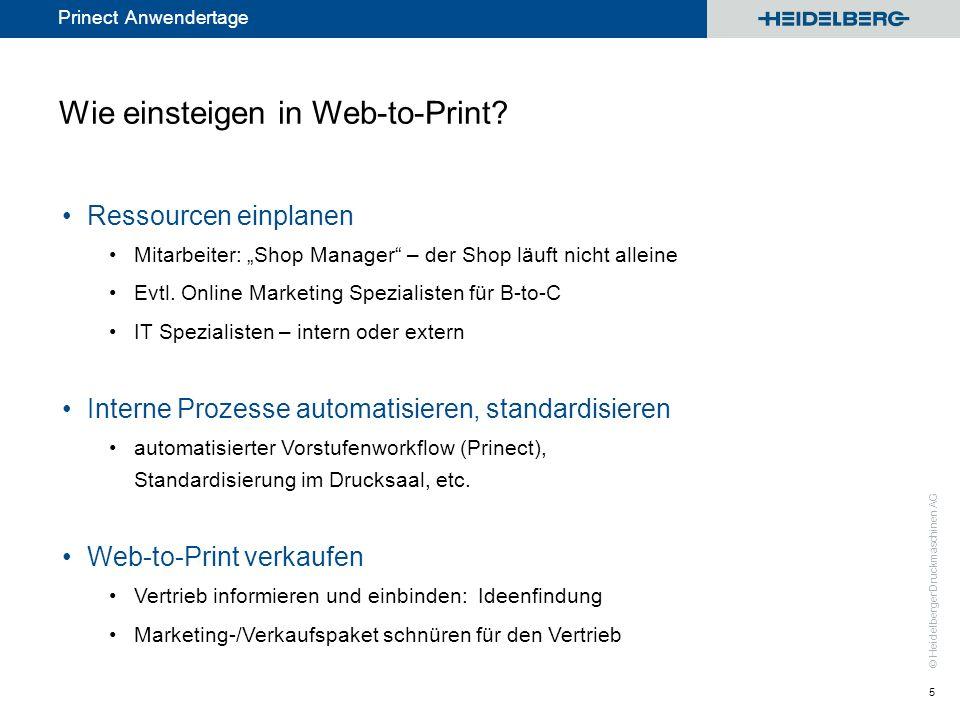 © Heidelberger Druckmaschinen AG Prinect Anwendertage Wie einsteigen in Web-to-Print? Ressourcen einplanen Mitarbeiter: Shop Manager – der Shop läuft