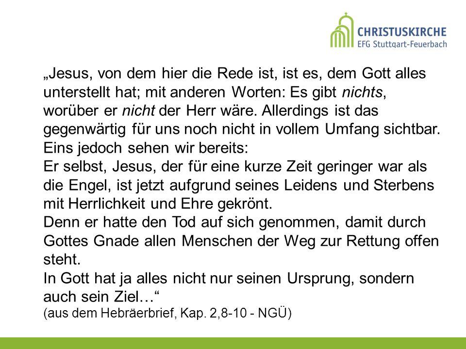 Jesus, von dem hier die Rede ist, ist es, dem Gott alles unterstellt hat; mit anderen Worten: Es gibt nichts, worüber er nicht der Herr wäre.