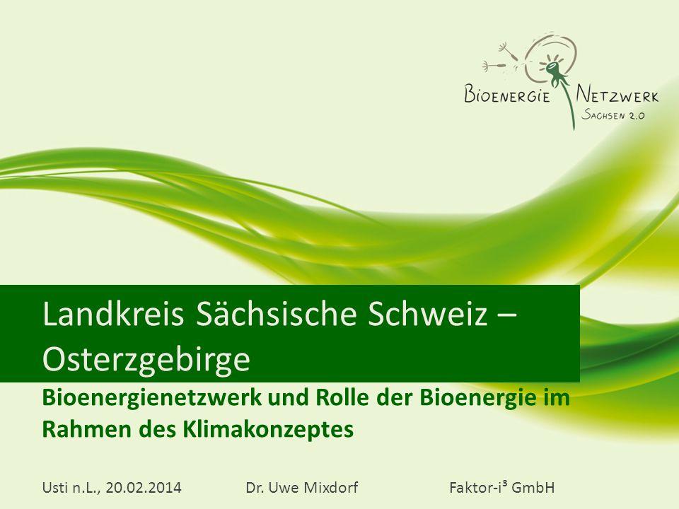 Landkreis Sächsische Schweiz – Osterzgebirge Bioenergienetzwerk und Rolle der Bioenergie im Rahmen des Klimakonzeptes Usti n.L., 20.02.2014Dr. Uwe Mix