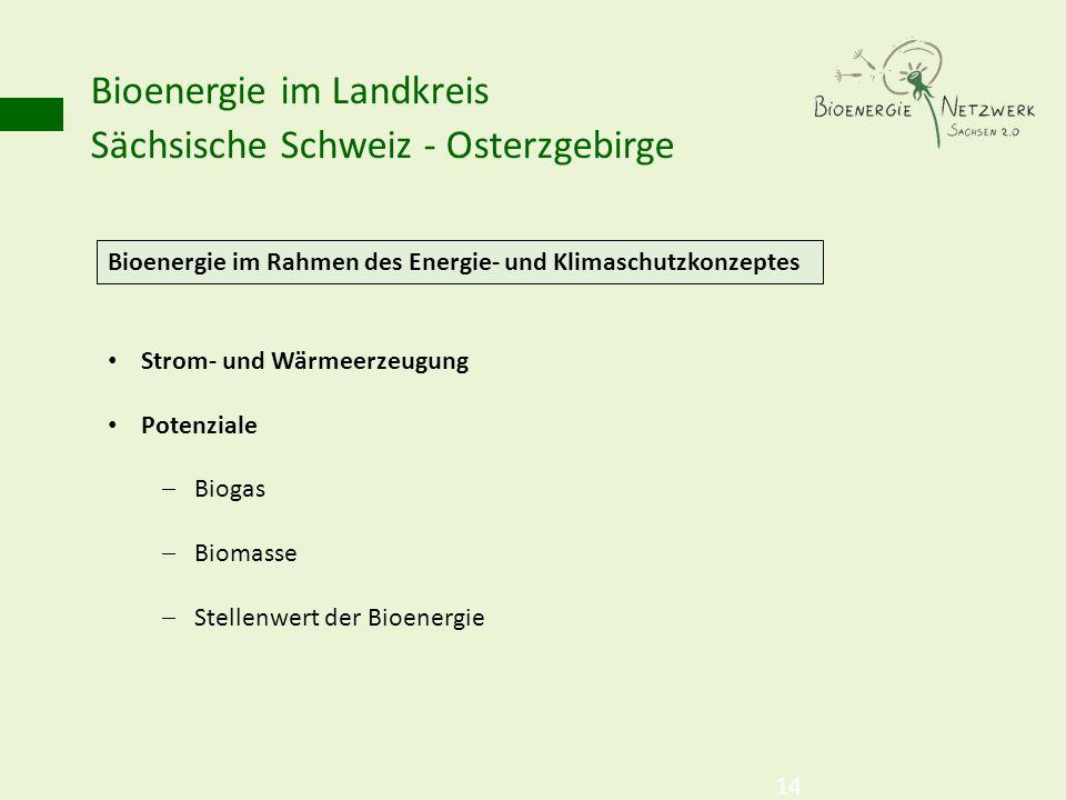 Bioenergie im Landkreis Sächsische Schweiz - Osterzgebirge 14 Bioenergie im Rahmen des Energie- und Klimaschutzkonzeptes Strom- und Wärmeerzeugung Pot