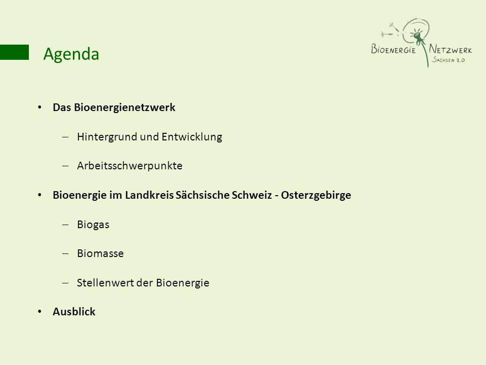 Agenda Das Bioenergienetzwerk Hintergrund und Entwicklung Arbeitsschwerpunkte Bioenergie im Landkreis Sächsische Schweiz - Osterzgebirge Biogas Biomas
