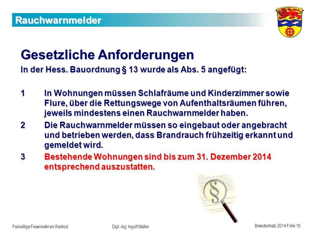 Brandschutz 2014 Folie 18 Freiwillige Feuerwehr en Weilrod Dipl.-Ing. Ingolf Müller Rauchwarnmelder Gesetzliche Anforderungen In der Hess. Bauordnung