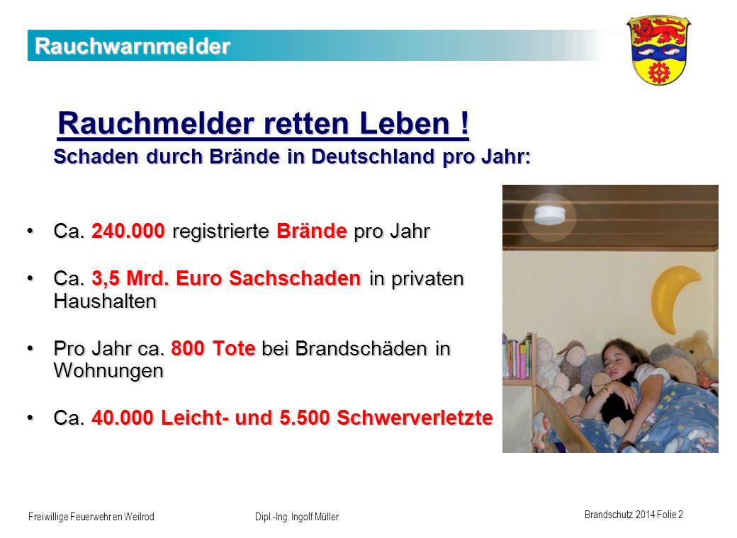 Brandschutz 2014 Folie 2 Freiwillige Feuerwehr en Weilrod Dipl.-Ing. Ingolf Müller Rauchwarnmelder Rauchmelder retten Leben ! Rauchmelder retten Leben