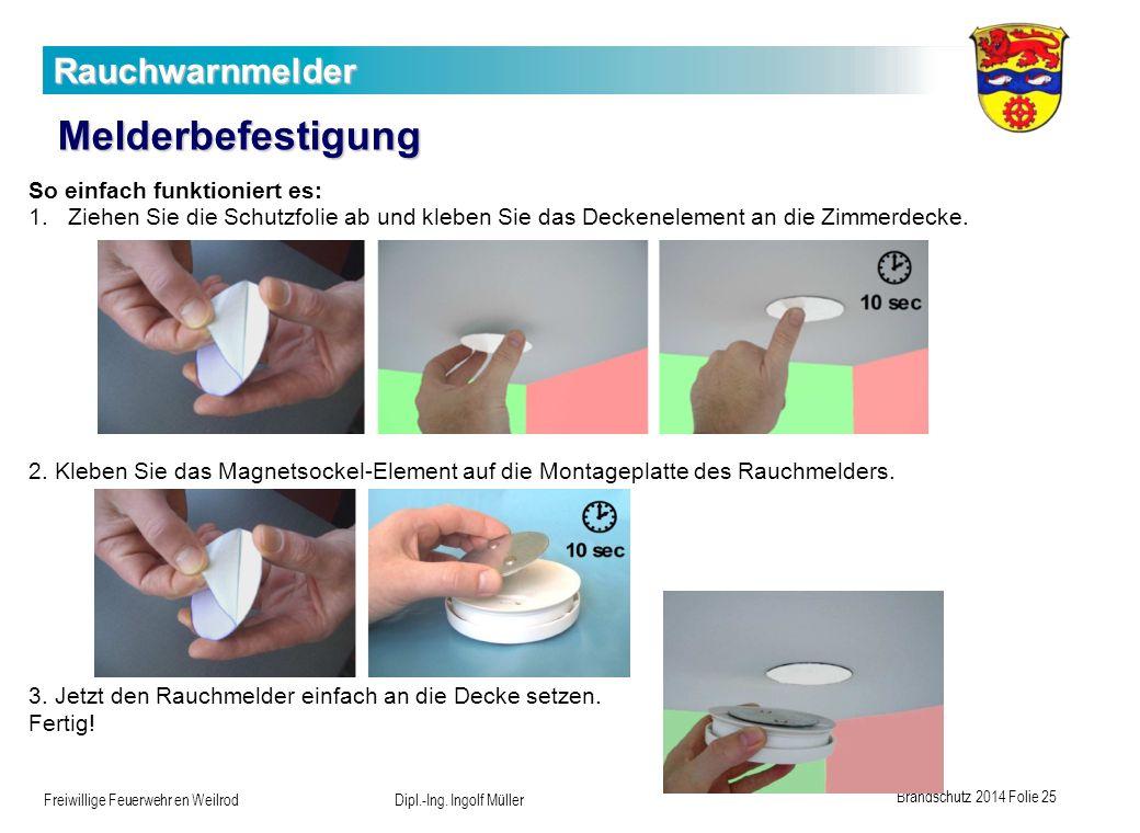 Brandschutz 2014 Folie 25 Freiwillige Feuerwehr en Weilrod Dipl.-Ing. Ingolf Müller Rauchwarnmelder Melderbefestigung So einfach funktioniert es: 1.Zi