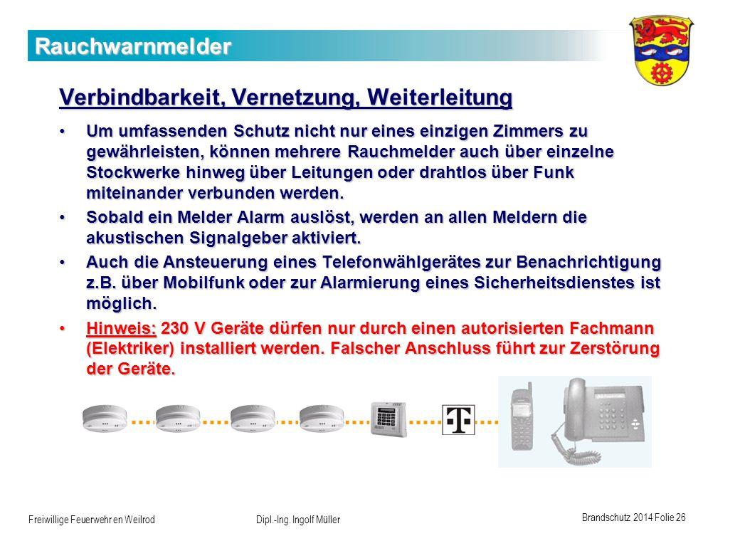Brandschutz 2014 Folie 26 Freiwillige Feuerwehr en Weilrod Dipl.-Ing. Ingolf Müller Rauchwarnmelder Verbindbarkeit, Vernetzung, Weiterleitung Um umfas