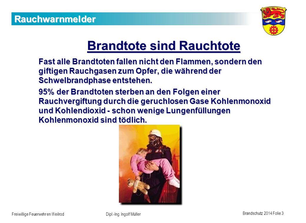 Brandschutz 2014 Folie 3 Freiwillige Feuerwehr en Weilrod Dipl.-Ing. Ingolf Müller Rauchwarnmelder Brandtote sind Rauchtote Fast alle Brandtoten falle