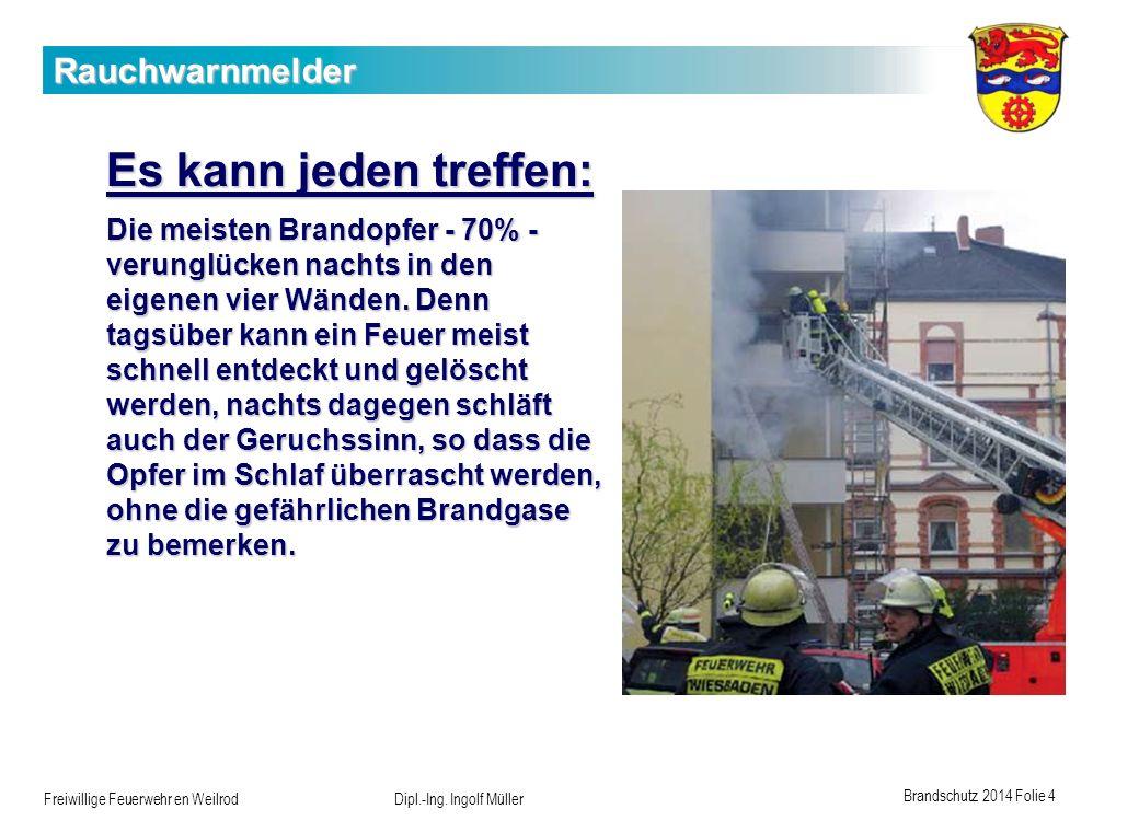 Brandschutz 2014 Folie 4 Freiwillige Feuerwehr en Weilrod Dipl.-Ing. Ingolf Müller Rauchwarnmelder Es kann jeden treffen: Die meisten Brandopfer - 70%