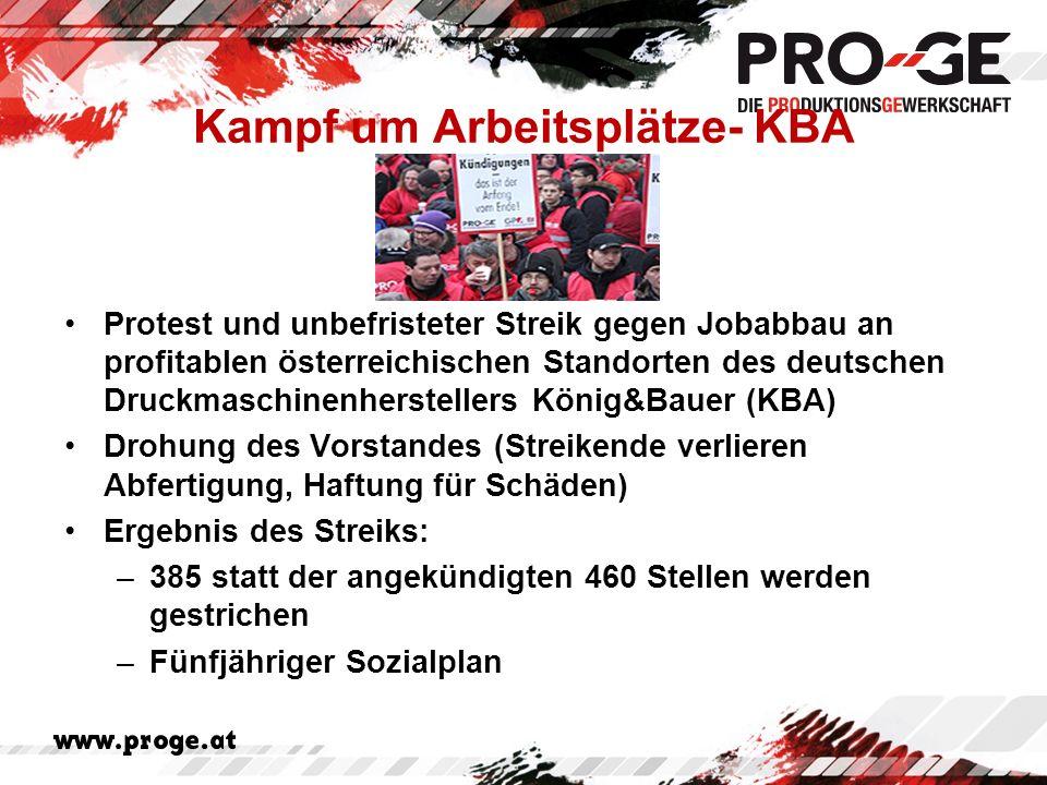 Kampf um Arbeitsplätze- KBA Protest und unbefristeter Streik gegen Jobabbau an profitablen österreichischen Standorten des deutschen Druckmaschinenherstellers König&Bauer (KBA) Drohung des Vorstandes (Streikende verlieren Abfertigung, Haftung für Schäden) Ergebnis des Streiks: –385 statt der angekündigten 460 Stellen werden gestrichen –Fünfjähriger Sozialplan