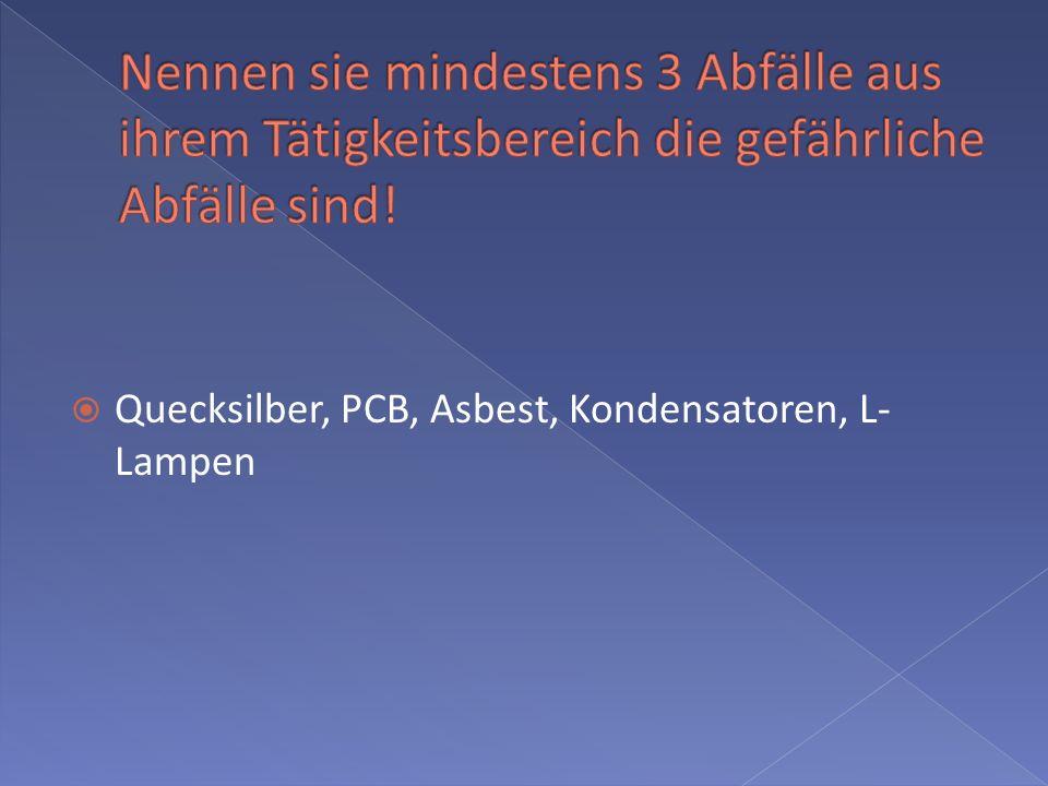 Quecksilber, PCB, Asbest, Kondensatoren, L- Lampen