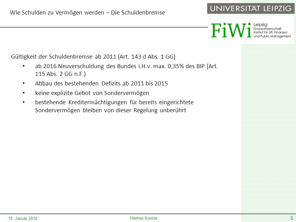 Martina Kuntze 15. Januar 2010 5 Gültigkeit der Schuldenbremse ab 2011 (Art.