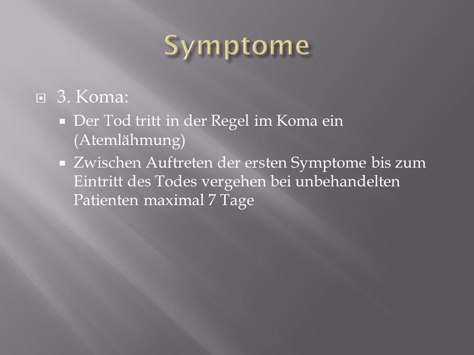 3. Koma: Der Tod tritt in der Regel im Koma ein (Atemlähmung) Zwischen Auftreten der ersten Symptome bis zum Eintritt des Todes vergehen bei unbehande