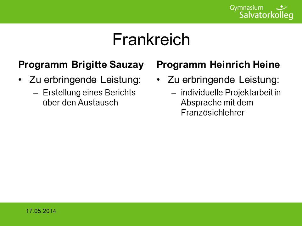 Frankreich Programm Brigitte Sauzay Zielgruppe: –Klassen 8/9/10 Bewerbungsschluss 7.