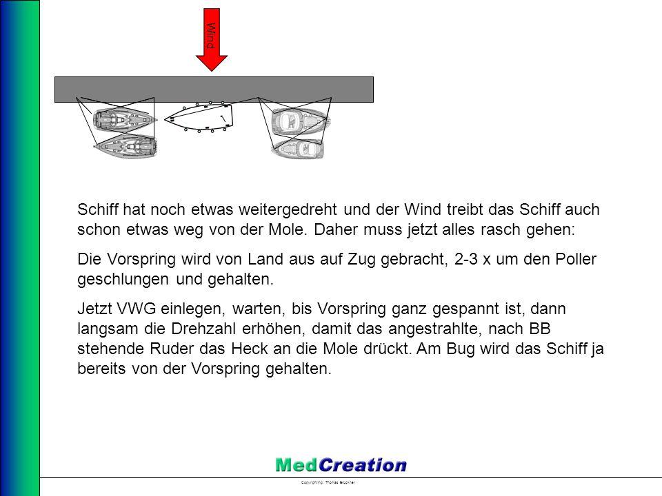 Copyright Ing. Thomas Brückner Wind Schiff hat noch etwas weitergedreht und der Wind treibt das Schiff auch schon etwas weg von der Mole. Daher muss j