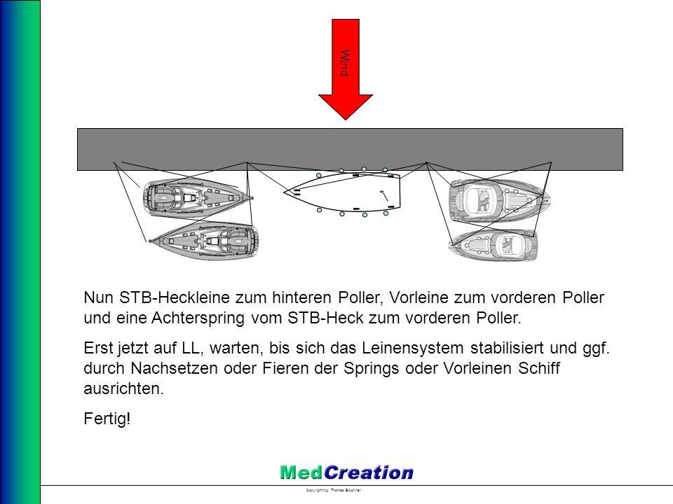 Copyright Ing. Thomas Brückner Nun STB-Heckleine zum hinteren Poller, Vorleine zum vorderen Poller und eine Achterspring vom STB-Heck zum vorderen Pol