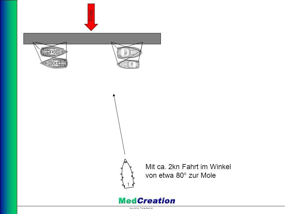 Copyright Ing. Thomas Brückner Wind Mit ca. 2kn Fahrt im Winkel von etwa 80° zur Mole