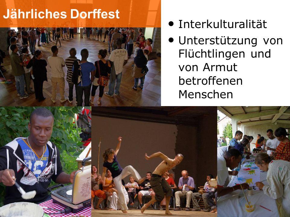 Jährliches Dorffest Interkulturalität Unterstützung von Flüchtlingen und von Armut betroffenen Menschen