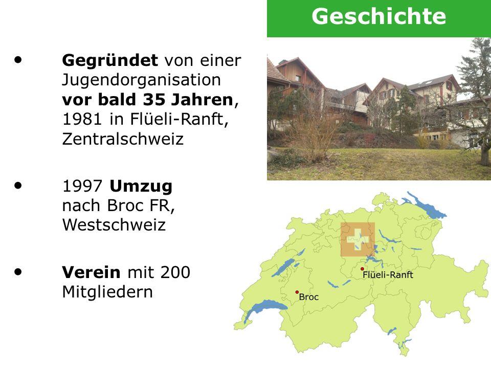 Gegründet von einer Jugendorganisation vor bald 35 Jahren, 1981 in Flüeli-Ranft, Zentralschweiz 1997 Umzug nach Broc FR, Westschweiz Verein mit 200 Mi