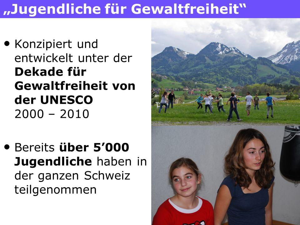 Jugendliche für Gewaltfreiheit Konzipiert und entwickelt unter der Dekade für Gewaltfreiheit von der UNESCO 2000 – 2010 Bereits über 5000 Jugendliche