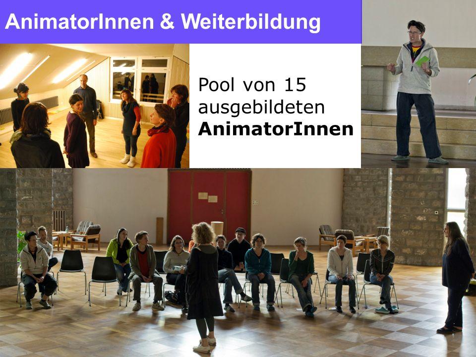 AnimatorInnen & Weiterbildung Pool von 15 ausgebildeten AnimatorInnen