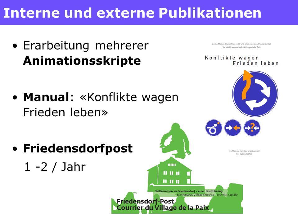 Interne und externe Publikationen Erarbeitung mehrerer Animationsskripte Manual: «Konflikte wagen Frieden leben» Friedensdorfpost 1 -2 / Jahr