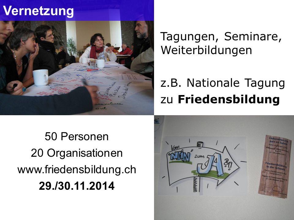Vernetzung 50 Personen 20 Organisationen www.friedensbildung.ch 29./30.11.2014 Tagungen, Seminare, Weiterbildungen z.B. Nationale Tagung zu Friedensbi