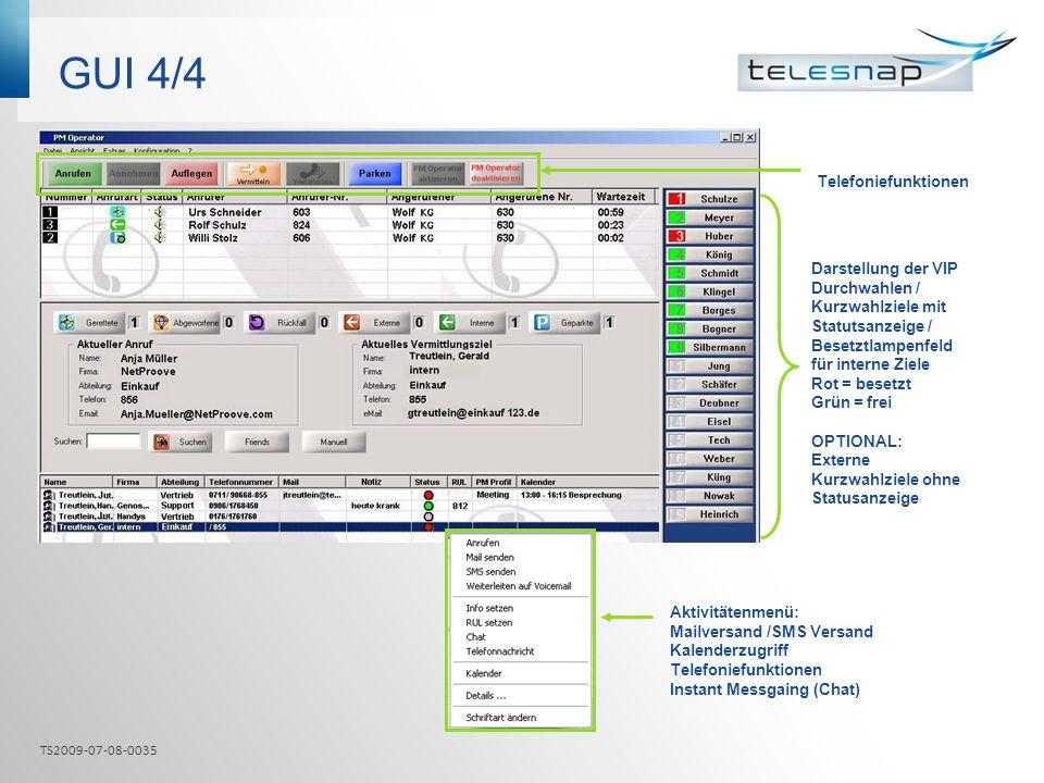 GUI 4/4 Telefoniefunktionen Darstellung der VIP Durchwahlen / Kurzwahlziele mit Statutsanzeige / Besetztlampenfeld für interne Ziele Rot = besetzt Grü