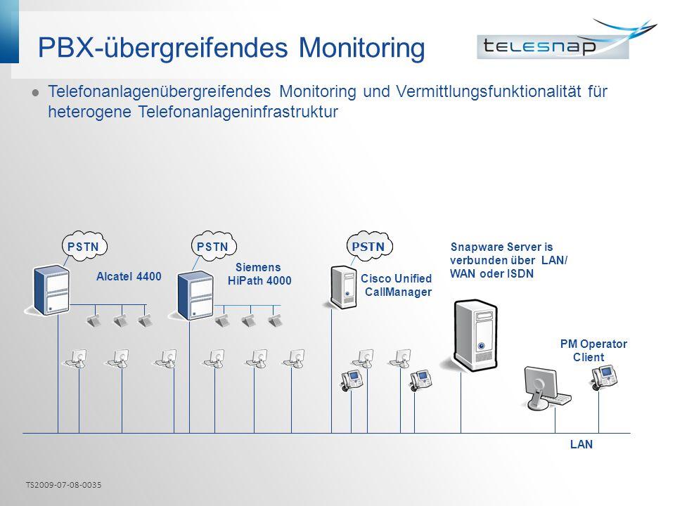 PBX-übergreifendes Monitoring Telefonanlagenübergreifendes Monitoring und Vermittlungsfunktionalität für heterogene Telefonanlageninfrastruktur PM Ope