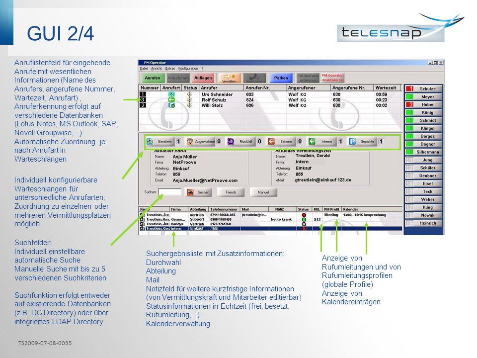 GUI 2/4 Individuell konfigurierbare Warteschlangen für unterschiedliche Anrufarten; Zuordnung zu einzelnen oder mehreren Vermittlungsplätzen möglich A